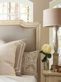 linen and cream bedroom. message DesignNashville for quotes on luxury bedding