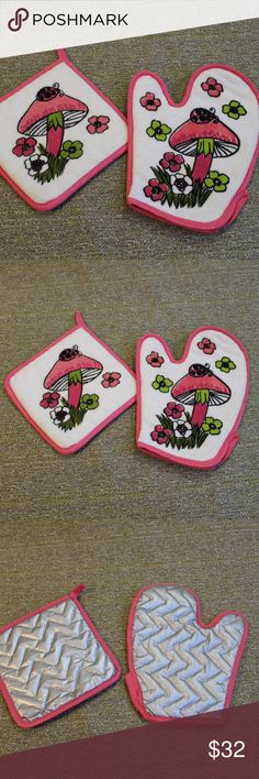 Vintage Mushroom & Ladybug Pot Holders Vintage Mushroom & Ladybug Hippie Pot Holders  So cute and look brand new! Add an adorable touch to your kitchen! Vintage Other
