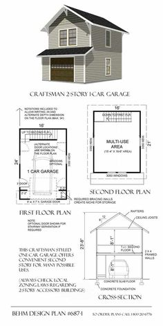 Two Story Garage Plan 687-1.  Don't like the interior staircase its a waste....but this might be a perfect size. Art studio and VRBO.