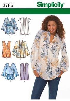 Sewing women plus size tunic tops Ideas Diy Clothing, Sewing Clothes, Clothing Patterns, Shirt Patterns, Plus Size Sewing Patterns, Simplicity Sewing Patterns, Tunic Pattern, Top Pattern, Moda Plus Size