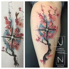 Watercolor Tattoos by Justin Nordine www.justinnordinetattoos.com Instagram: @justinnordinetattoos