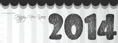 2014 Happy New Year Black Glitter Stars Facebook Cover CoverLayout.com