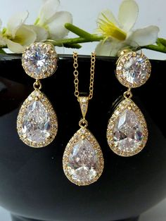 Wedding Bridal Jewelry SET - Halo Large Clear White Peardrop Cubic Zirconia with Yellow Gold Plated CZ Post Earring and Necklace