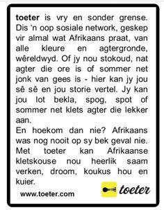 Toeter storie Afrikaans, Afrikaans Language