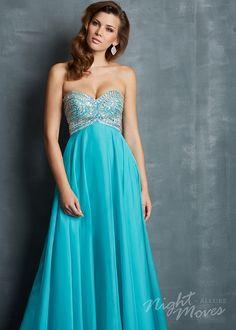 Night Moves 7053 - Turquoise Strapless Chiffon Prom Dresses Online #thepromdresses