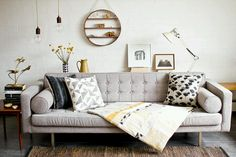 Grey, mustard and a circle shelf