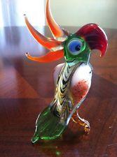 Russian Murano Glass PARROT Bird Figurine Hand-Blown Glass Art - Imported