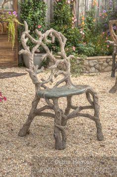 Concrete faux bois garden furniture by Diane Husson. www.newrelics.com