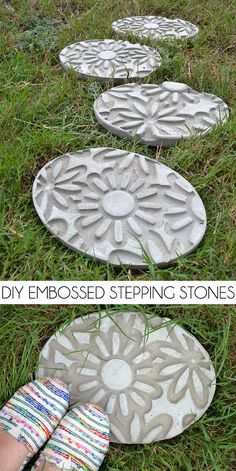 DIY Embossed Stepping Stones ... gorgeous & simple to learn how to make stepping stones ... using a decorative rubber doormat & stepping stone kits ................ #DIY #pavers #cement #doormat #steppingstone #kit #cookingspray #concrete #outdoor #garden #lawn #patio #landscaping #curbappeal #decor #crafts