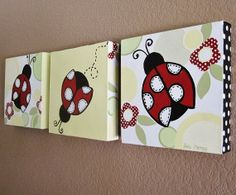 Ladybug Nursery Art, Red Black White Yellow Green, Custom Painted Canvas Set of 3, each 12x12 on Etsy, $145.00