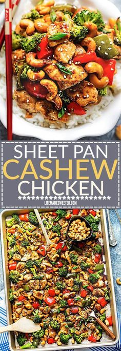 Cashew Chicken Sheet Pan has all the flavors of the popular Chinese restaurant takeout dish made on a sheet pan. Best of all, super easy to make with paleo friendly options. Plus a serving of tender crisp broccoli and red & green bell peppers for a health
