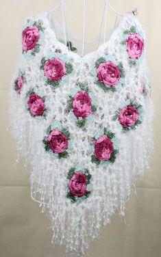 Bufandas o AliExpress.com from $18.0 Azucena Crochet Cape, Crochet Cardigan Pattern, Crochet Flower Patterns, Irish Crochet, Crochet Shawl, Crochet Flowers, Crochet Stitches, Knit Crochet, Crochet Cover Up