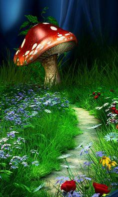 Pathway to home Mushroom Drawing, Mushroom Art, Art Fantaisiste, Fairy Pictures, Beautiful Nature Wallpaper, Butterfly Wallpaper, Fantasy Landscape, Fairy Art, Fantasy Artwork