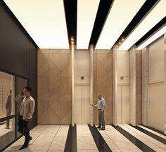 Elevator Lobby Design, Wall Cladding Designs, Staircase Railing Design, Apartment Entrance, Corridor Design, Lift Design, Lobby Interior, Building Design, Behance