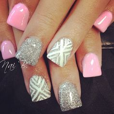 super cute pink, silver, & tribal nails