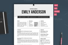 Resume Template   The Emily 2pk by Pixel & Oak on Creative Market   it's easy as one two three!!