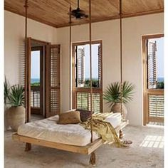 Swing Beds Online Nautical's Twin Swing Bed in Beach Style with a Twin Size Mattress
