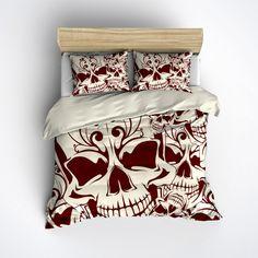 Featherweight Skull Bedding -  Red & Cream Skull Print on Cream Fabric - Comforter Cover - Sugar Skull Duvet Cover, Skull Bedding Set