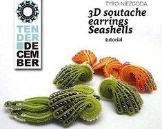 Textile seashells tutorial, original soutache earrings pattern, DIY jewelry making, soutache lesson, Soutache Pattern, Soutache Tutorial, Earring Tutorial, Diy Tutorial, Diy Jewelry Projects, Jewelry Making Tutorials, Beading Tutorials, Soutache Earrings, Etsy Earrings