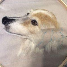 Needle felted portrait of Dixie