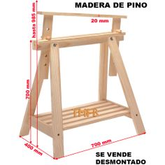 CABALLETE REGULABLE EN ALTURA DE MADERA DE PINO 700-985x700x400