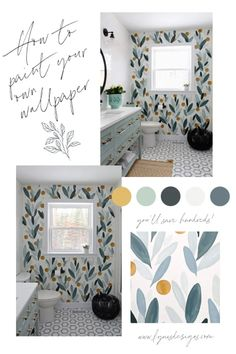 Painting Over Wallpaper, Bathroom Wallpaper Modern, Bathroom Wall Decals, Diy Wallpaper, Hall Bathroom, Bathroom Interior, Behr Paint Colors, Bathroom Colors, Colorful Bathroom