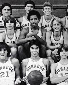"In this 1977 file photo provided by the The Oahuan, yearbook of Punahou School, Barack Obama, second row center, is seen with is junior varsity basketball team in this 1977 yearbook class photo in Honolulu. Obama loved basketball and as a forward dubbed ""Barry O'Bomber,"" he favored a left-handed double pump shot. During his senior year, the varsity team captured the state championship."
