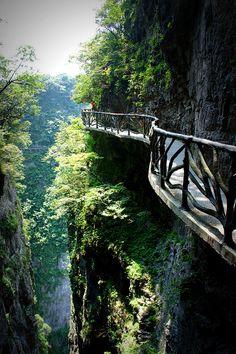 Inspiration only! ------------------------------ Cliff hanging walkways, Hunan, China