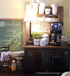 Inspiration for a Coffee Bar kitchen nook... would love to create one like this.