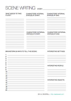 Creative Writing Worksheet – Scene Writing (PDF) Here is a worksheet I needed to write for myself this week! Often when you create an outline, you know what nee