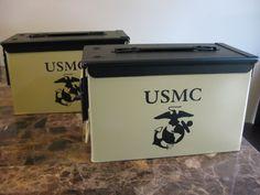 VERY COOL, DOUBLE GUN, .50 AMMO BOX, .50 CAL, TAN USMC VERSION WITH BLACK TOP - The Can Man - Custom Gun Cases