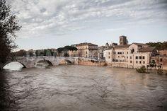The Tiber river flooding near the Cestio Bridge, the Tiberina Island and the Fate Bene Fratelli Hospital.