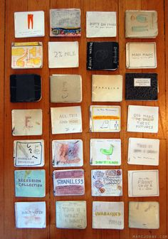 Marc Johns makes his own sketchbooks. I admire this greatly. And I believe there is traction in the idea that a cheap-o sketchbook you throw in your back pocket is much less intimidating than a beautiful leather-bound something. I suppose I should try to get in the habit.