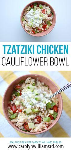 Tzatziki Cauliflower Rice Bowl with Chicken Tzatziki Sauce, Tzatziki Chicken, Real Food Recipes, Chicken Recipes, Cooking Recipes, Healthy Recipes, Rice Recipes, Healthy Foods, Chicken Cauliflower