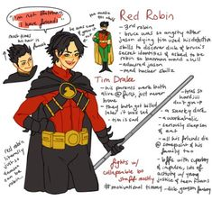 beaucoup de griffonnages Tim Drake - Red Robin (is red robin, because he was too old to be Robin, and it was time to f-ing move on. Damian needed it more, but Tim didn't take it well) Zoom Dc Comics, Mera Dc Comics, Zatanna Dc Comics, Cyborg Dc Comics, Marvel Dc Comics, Dc Universe, Batman Universe, Tim Drake Red Robin, Robin Dc