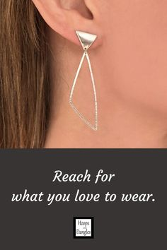 """Handmade asymmetrical earrings and hoop dangles are for those of you who like wearing post earrings. They are light and comfortable and with a hammered finish, these softened geometric shapes are elegant and made from sterling silver. Size: Total Length is 2 1/4""""; Earring Length is 1/2""""; Earring Width is 1/2""""; Hoop Length is 1 7/8""""; Hoop Width is 11/16"""""""