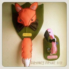 Cute 'Mr Fox' Faux Taxidermy felt plushie Wall by CuriosityForest, £40.00