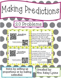 *****QR CODE TASK CARDS*****These task cards let students make predictions by using surveys, data, and graphs. They can be solved by using proportions or by making an educated guess. These problems are great real life situations!Simply print and cut out the task cards. Learning Centers, Math Centers, Classroom Activities, Classroom Ideas, Probability Worksheets, Making Predictions, Reading Comprehension Strategies, Math Task Cards