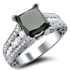 #blackengagement #blackdiamond #blackgoldweddingrings 2.91ct Black Princess Cut Diamond Engagement Ring 18k White Gold With a 1.81ct Center Diamond and 1.10ct of Surrounding Diamonds by Front Jewelers - See more at: http://blackdiamondgemstone.com/jewelry/wedding-anniversary/engagement-rings/291ct-black-princess-cut-diamond-engagement-ring-18k-white-gold-with-a-181ct-center-diamond-and-110ct-of-surrounding-diamonds-com/