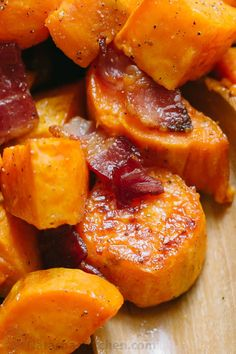 Make Maple Roasted Sweet Potatoes and Bacon once and you'll make them again and again! These roasted sweet potatoes are sweet/salty/savory and delicious. | natashaskitchen.com
