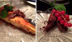 Tarta de queso con nutella y tarta de chocolate con frutos rojos. Mmmm!