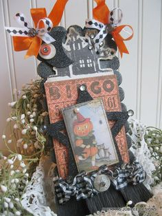 vintage style large halloween pumpkin girl and black cat HAUNTED HOUSE bingo card plaque sign decoration