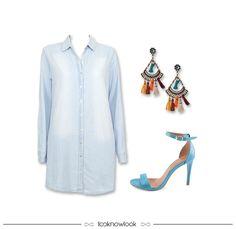 Chemise Jeans + Brinco Gipsy + Sandália de Tiras #moda #look #outfit #looknowlook