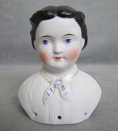 """C1860s, Highest quality parian (Rosa Bonheur) portrait doll in an unusually large 5"""" shoulder head size which would make a doll approximately 20-23"""" tall depending on the scale of the body. This doll is often found dressed as a gentleman as well as a lady. Rosa Bonheur was famous artist who often dressed as a man and wore her hair short."""
