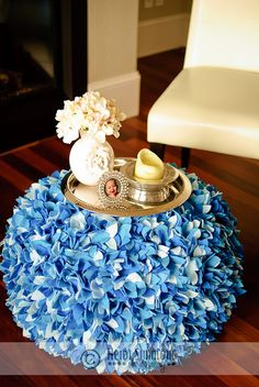 Petal Pouf  Shades of Blue by LiveLifeInLime on Etsy, $275.00