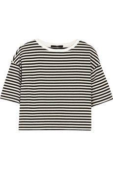 Tibi Ren cropped striped cotton-blend jersey top  | NET-A-PORTER