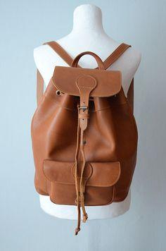 #Vintage caramel brown #Leather #Backpack by ZvezdanaVintage on Etsy, $112.00