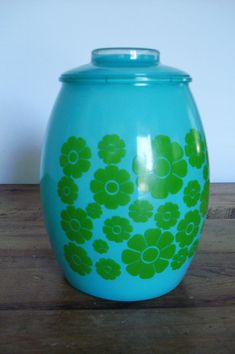 Bartlett Collins Glass Company | Vintage 1960 Bartlett - Collins Turquoise Glass Cookie Jar