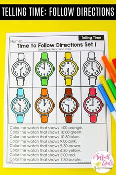 Telling Time Worksheets- Teaching time to the half hour in First Grade is be fun and engaging with these hands-on math centers and practice sheets for Grade! First Grade Sight Words, First Grade Writing, Teaching First Grade, Teaching Time, First Grade Classroom, 1st Grade Math, Grade Spelling, Kindergarten Math, Second Grade