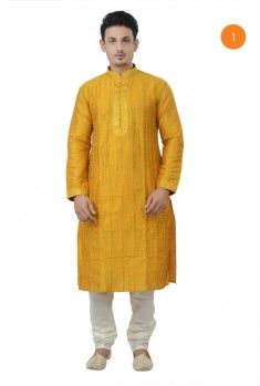 Manyavar Traditional Kurta. The cotton kurta with stitchline detailing on collar and sleeves makes it an easy to carry garment. There is alternating stichline and pintucks effect all over the front. The heavy stitch line detailing on placket with gundi buttons makes it a classic wear.